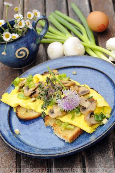 Rezept mit Bild für Champignon-Omelette