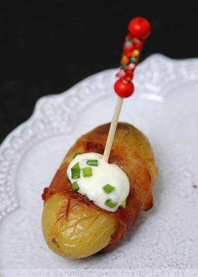 Rezept mit Bild für Mini-Kartoffeln mit Speck und Creme fraîche