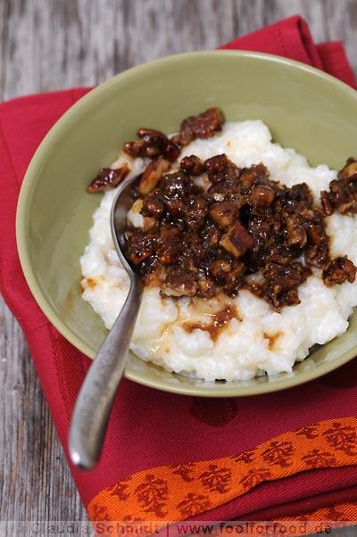 Rezept mit Bild für Milchreis mit Pecan-Karamell