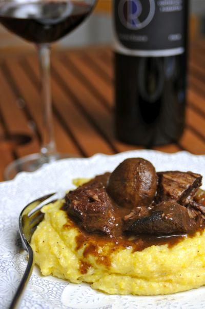 Rezept mit Bild für Boeuf Bourgignon mit Polenta