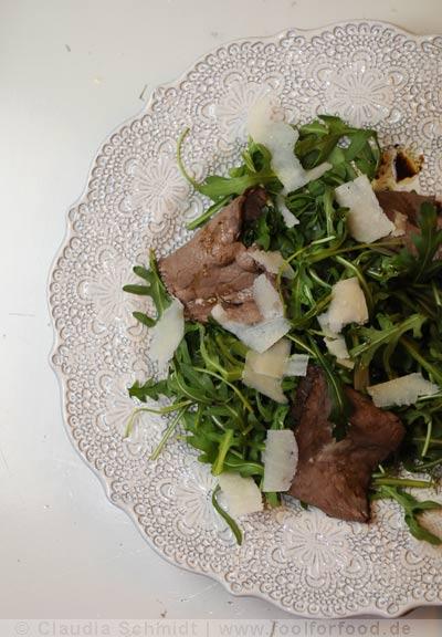 Rezept mit Bild für Tagliata mit Rucola und Parmesan
